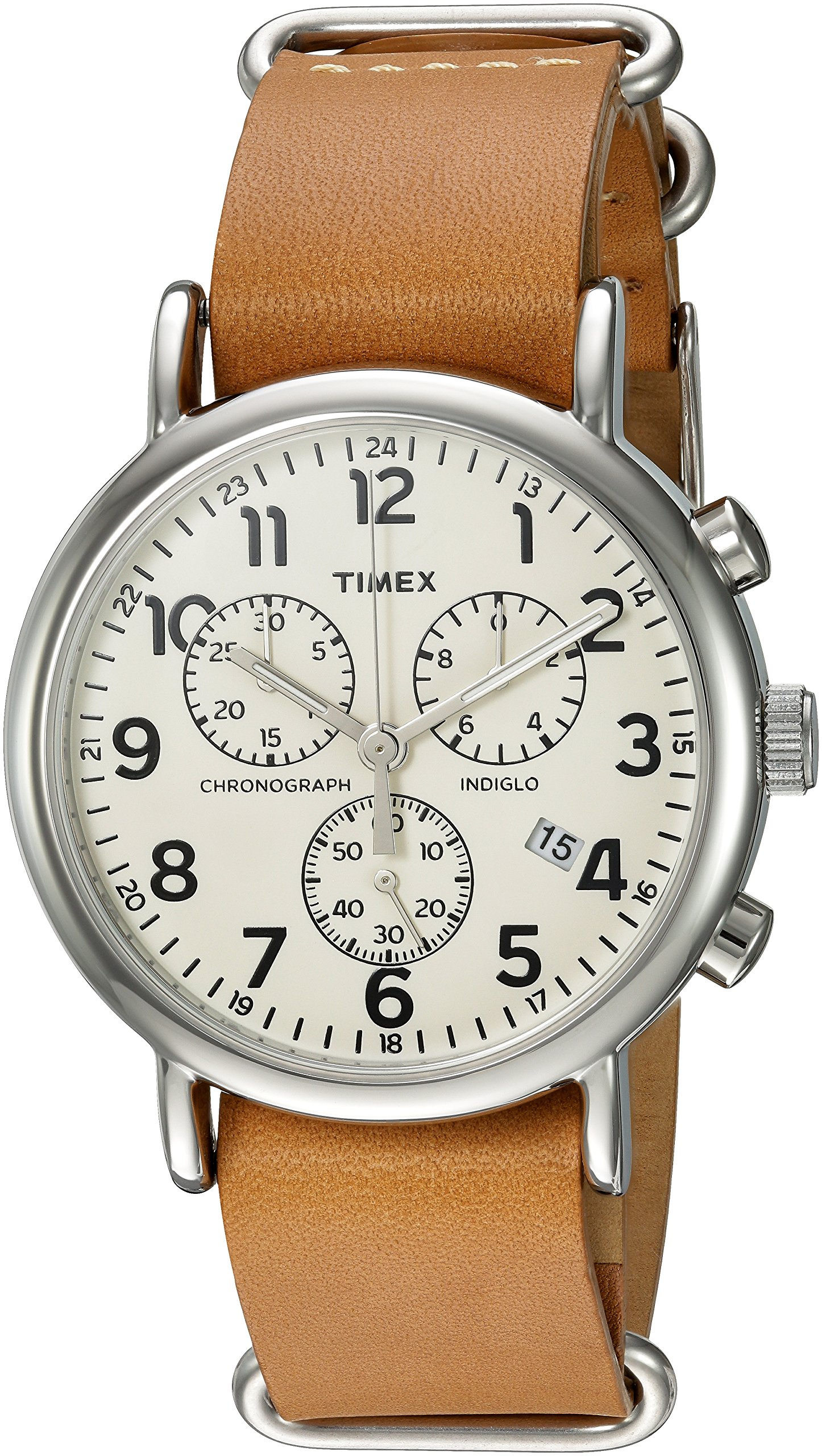 Timex Weekender Chrono Analog-Quartz Watch with Leather Strap, Brown, 20 (Model: TWC063500) by Timex (Image #1)