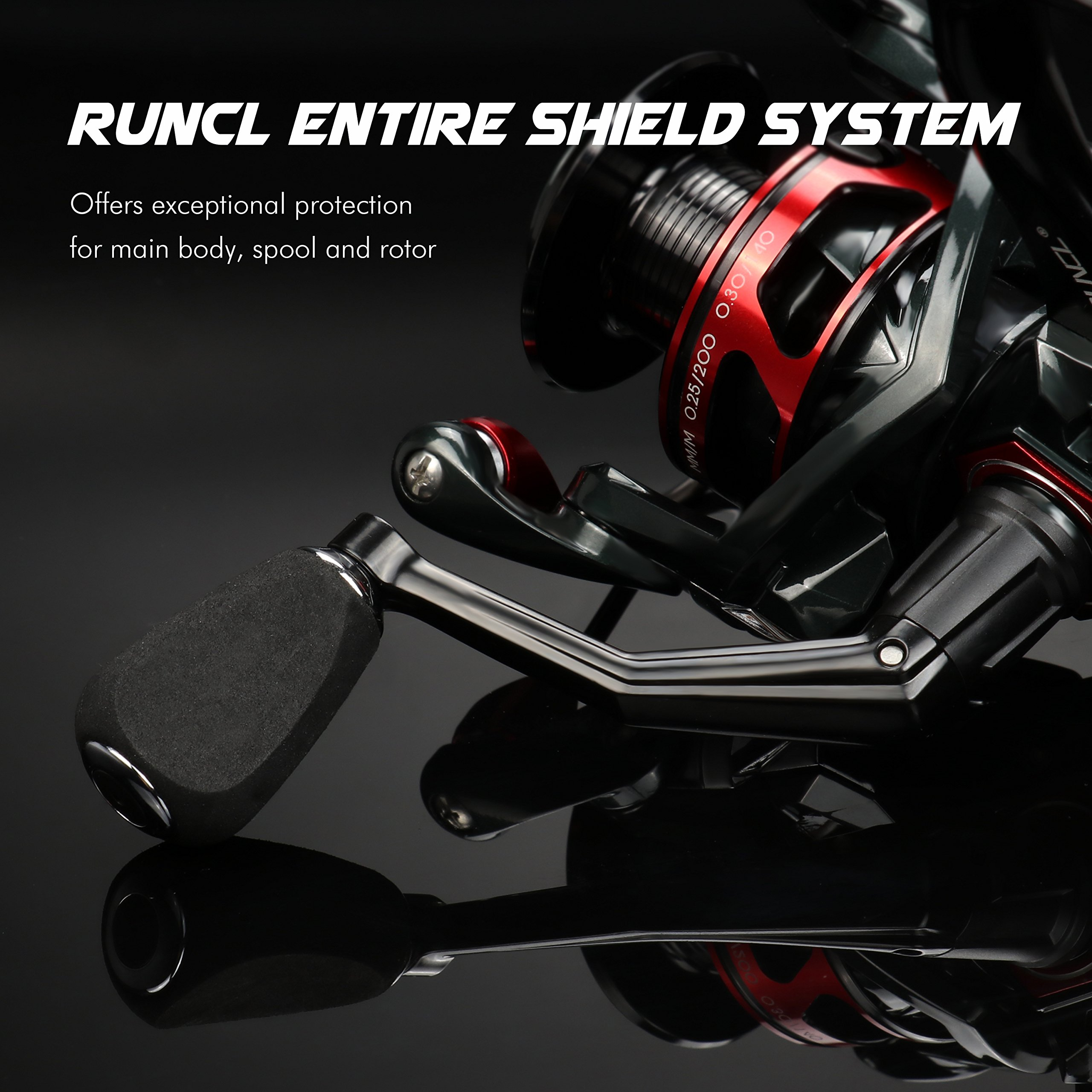 RUNCL Spinning Reel Titan I, Fishing Reel with Full Metal Body, Max Drag 44LB, 5 Carbon Fiber Drag Washers, 9+1 Stainless Steel Shielded Bearings, Hollow Out Rotor for Saltwater and Freshwater (4000) by RUNCL (Image #6)
