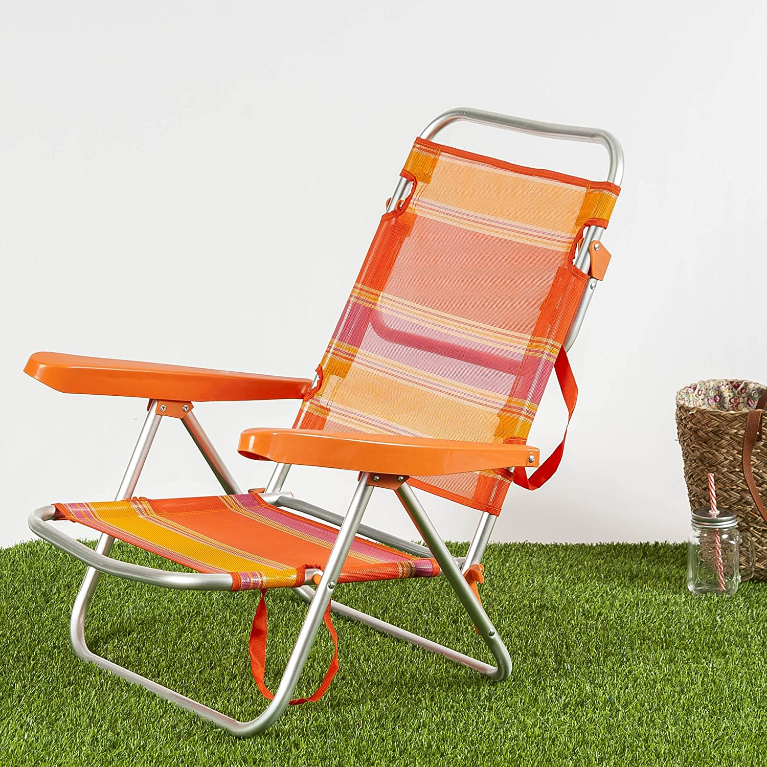 Habita Home Silla DE Playa Baja 108x60x78/22x1 Color Naranja