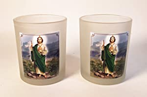 CKK Home Decor Set of 2 St Jude Large Frosted Glass Votive Candle Holders