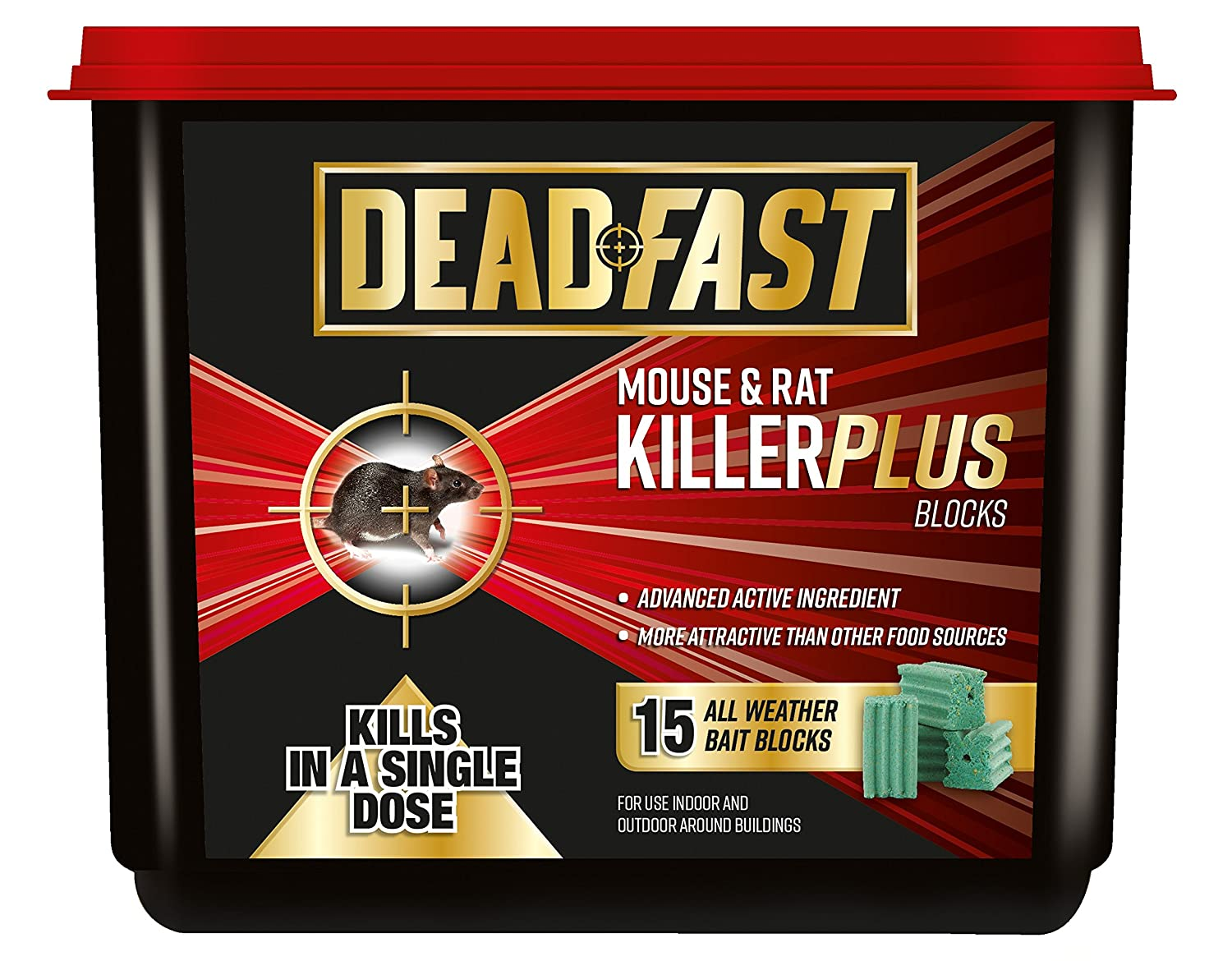 Deadfast Mouse and Rat Killer Plus Poison, 15 Block Westland Horticulture 20300394