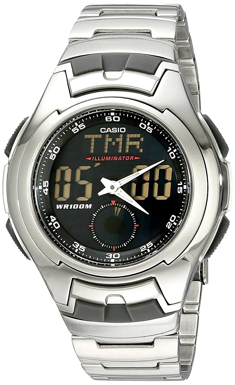 Casio Mens AQ160WD-1BV Stainless Steel Ana-Digi Electro-Luminescent Sport Watch