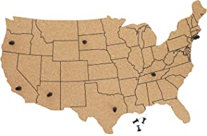 Juvale USA Map Cork Bulletin Board with 10 Push Pins (16 x 10 Inches)