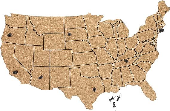 Tabla de corcho con mapa de Estados Unidos: Amazon.es: Oficina y ...