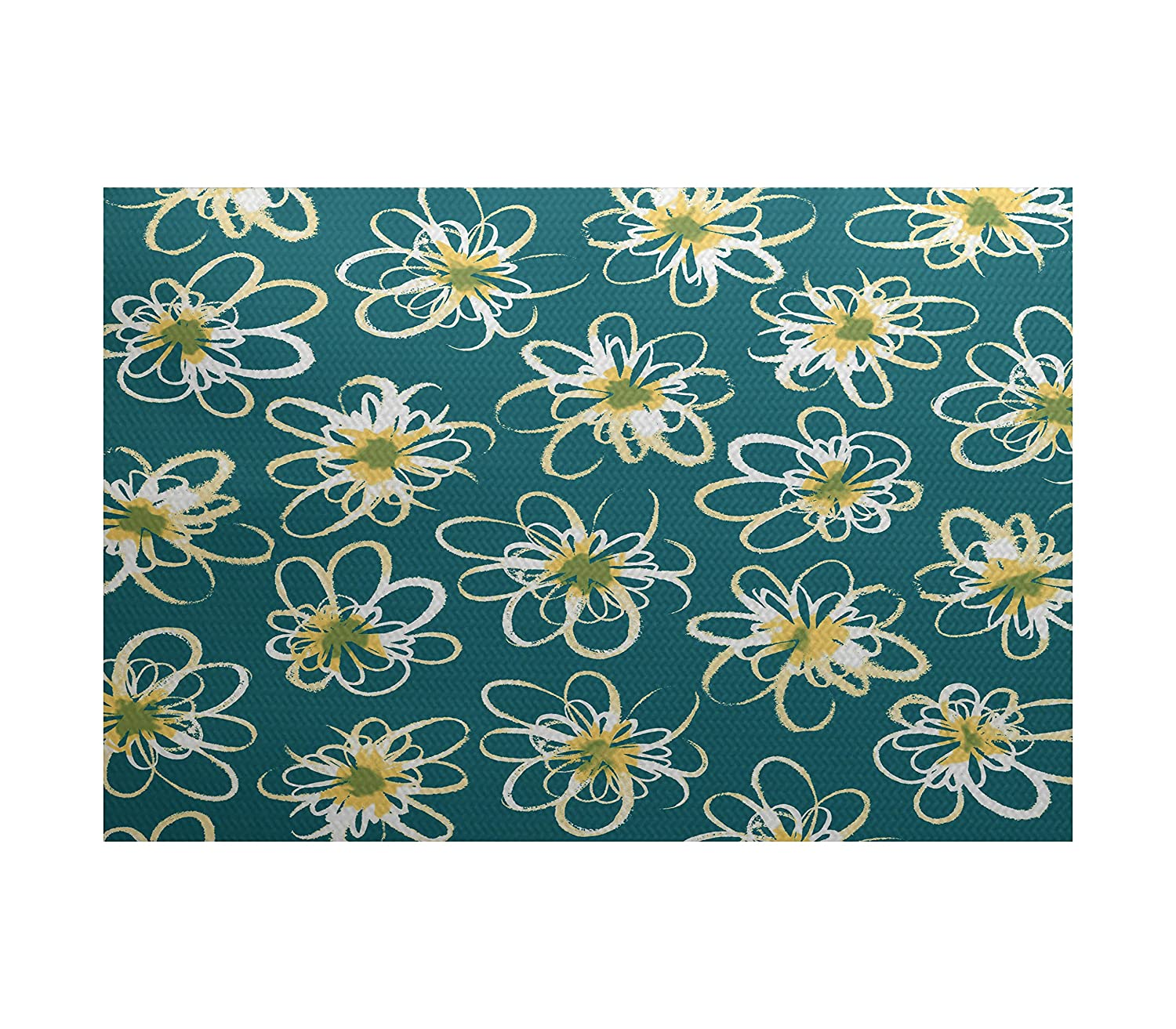 E by design RGN507BL37YE1-23 Penelope Floral, Geometric Print Indoor/Outdoor Rug, 2 x 3, Blue/Teal