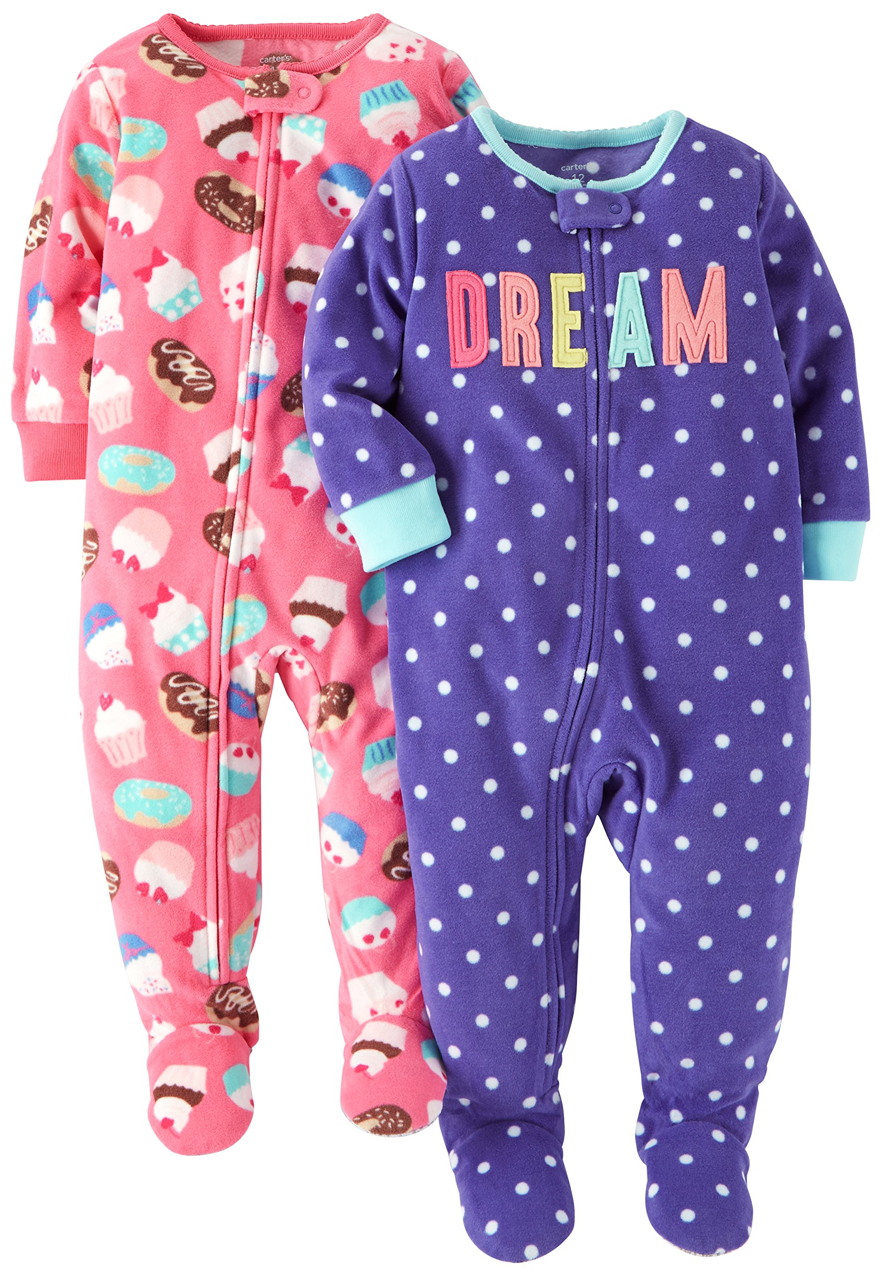 452033427 Carter s Baby Girls  Toddler 2-Pack Fleece Pajamas