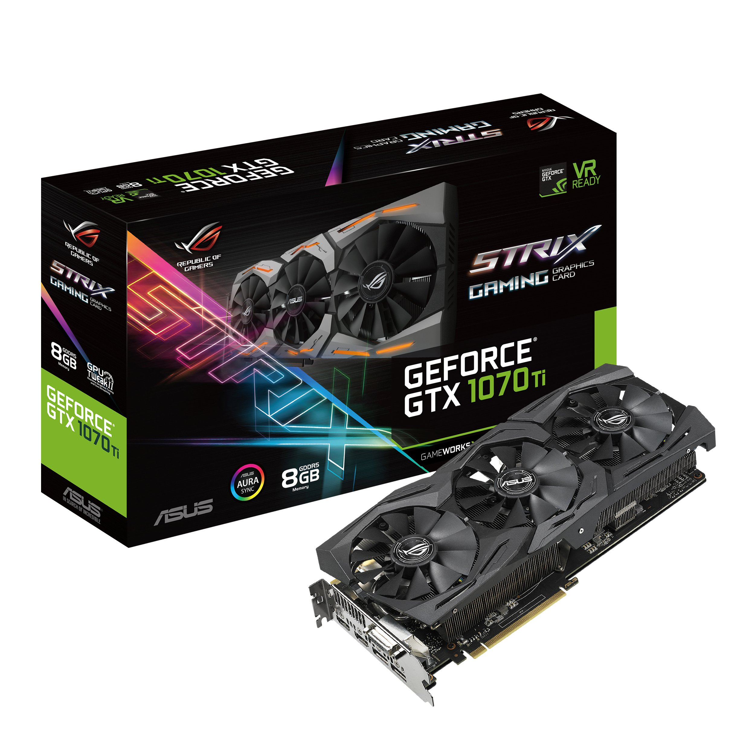 ASUS ROG Strix GeForce GTX 1070 Ti 8GB GDDR5 VR Ready DP HDMI DVI Gaming Graphics Card (ROG-STRIX-GTX1070TI-8G-GAMING)