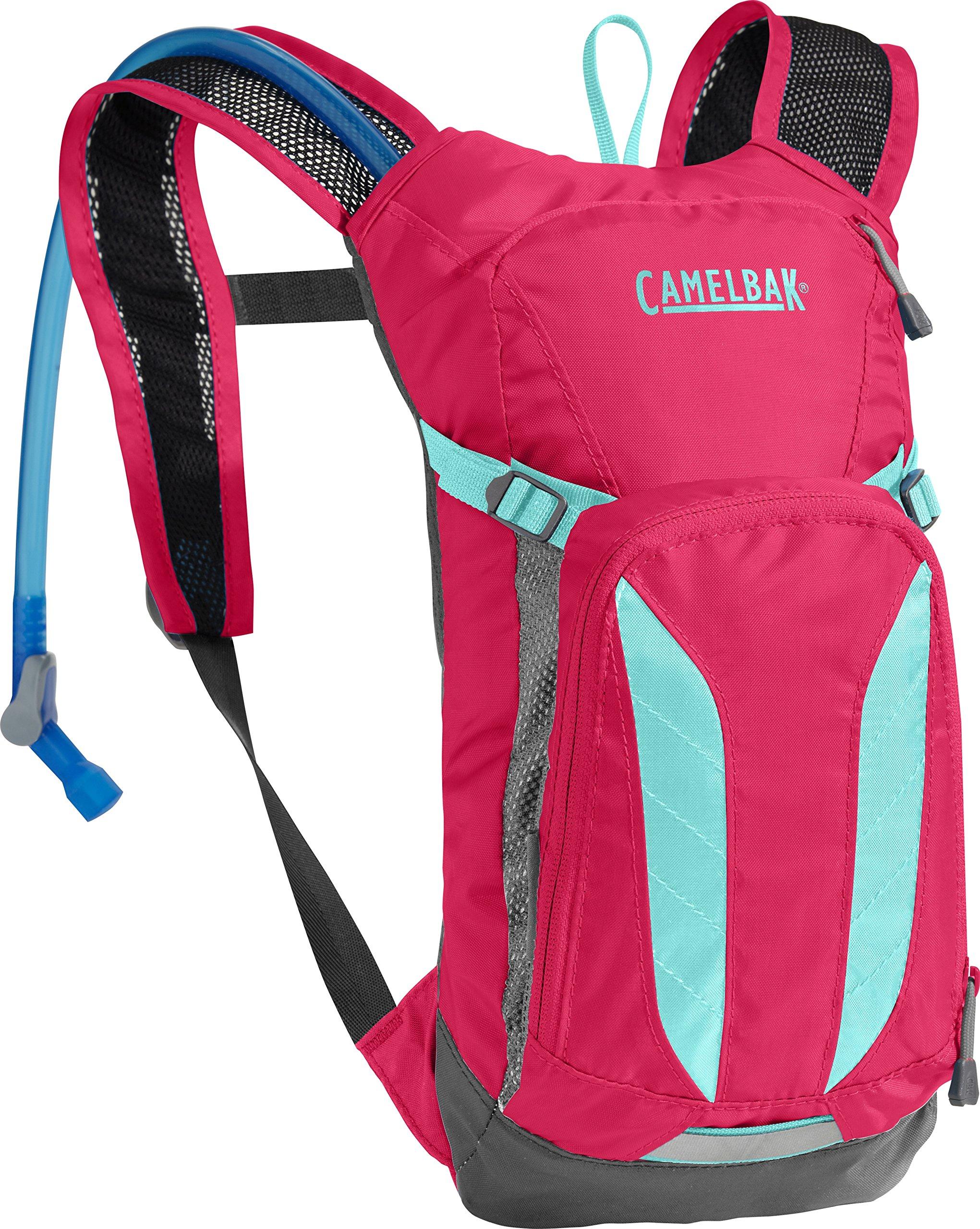 CamelBak Kids Mini M.U.L.E. Crux Reservoir Hydration Pack, Azalea/Aruba Blue, 1.5 L/50 oz by CamelBak
