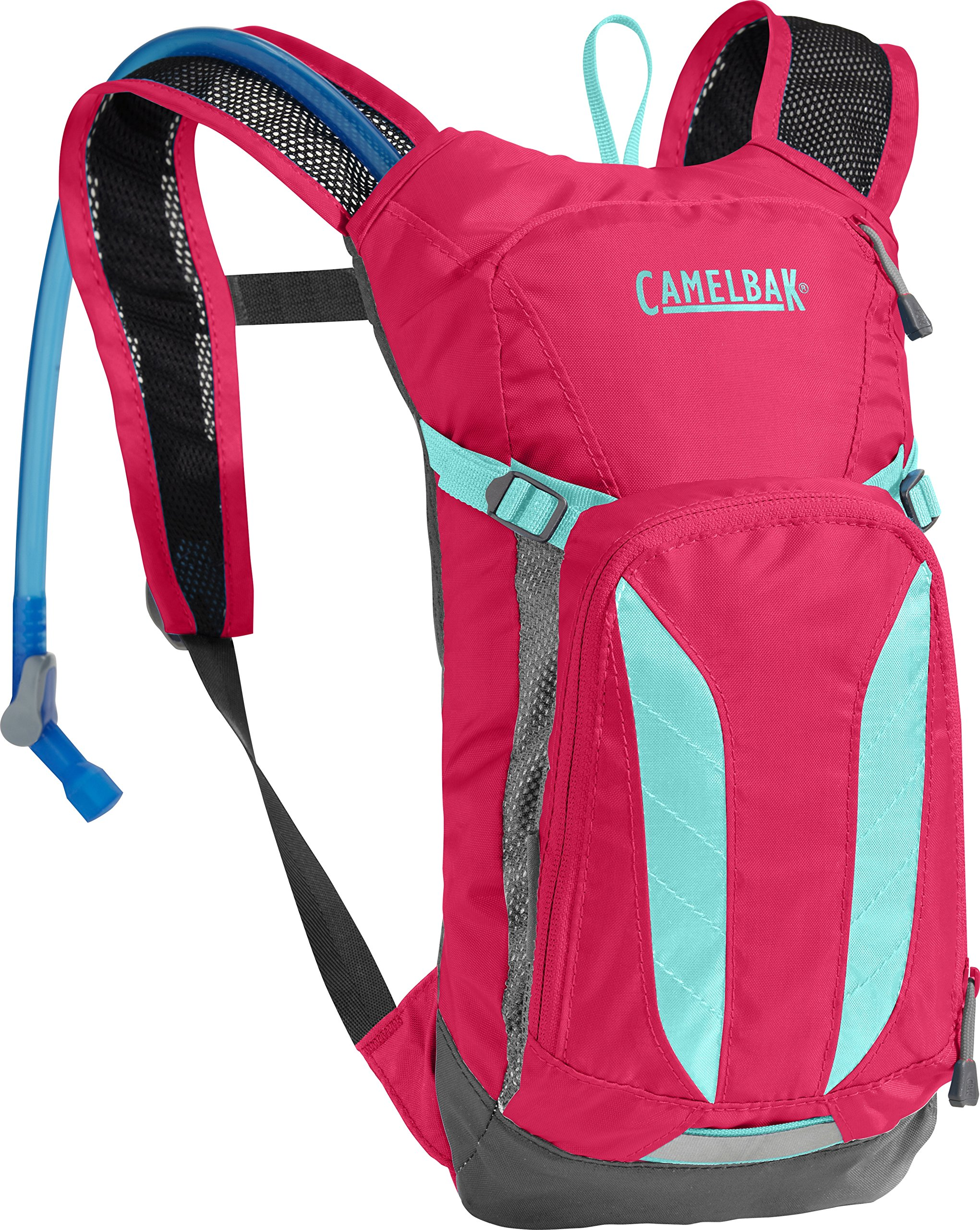CamelBak Kids Mini M.U.L.E. Crux Reservoir Hydration Pack, Azalea/Aruba Blue, 1.5 L/50 oz