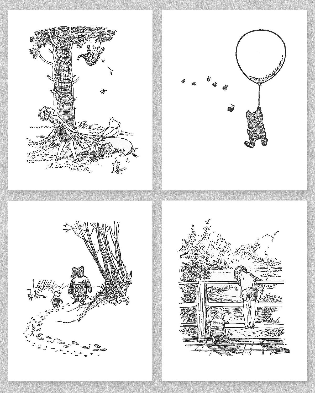 Amazon Com Winnie The Pooh Black And White Nursery Art 8x10 Baby Boy Prints Girls Wall Decor Set Of 4 Unframed Handmade