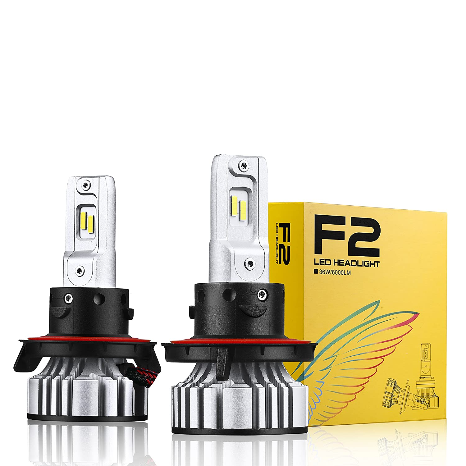 Alla Lighting D-CR F2 Newest Version 9000 Lumens Extremely Super Bright 3200K Gold Yellow High Power SUPER Mini H13 9008 Dual High Low Beam LED Headlight Bulb All-in-One Conversion Kits Headlamp Bulbs