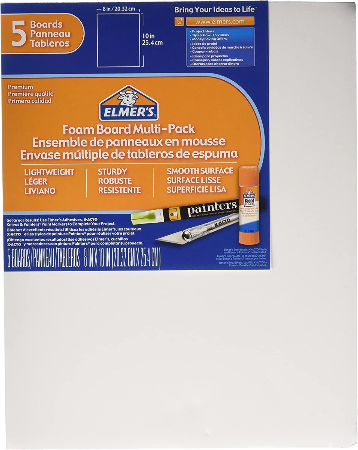 Elmer's Foam Board Multi-Pack, 8 x 10 Inches, 3/16 Inch Thickness, White, 5 Count : Foam Boards : Office Products