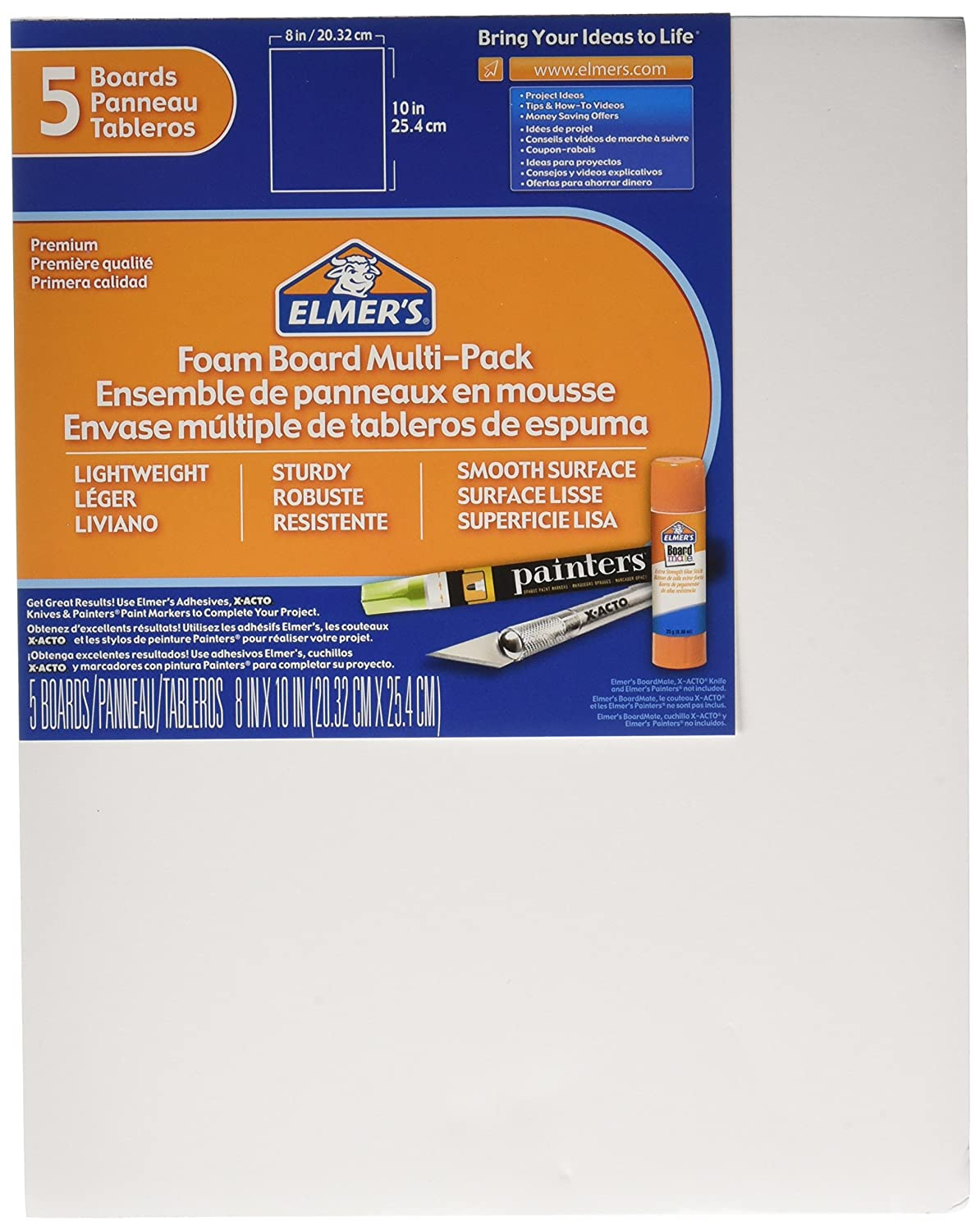 Elmers Foam Board Multi-Pack, 8 x 10 Inches, 3/16 Inch Thickness, White, 5 Count