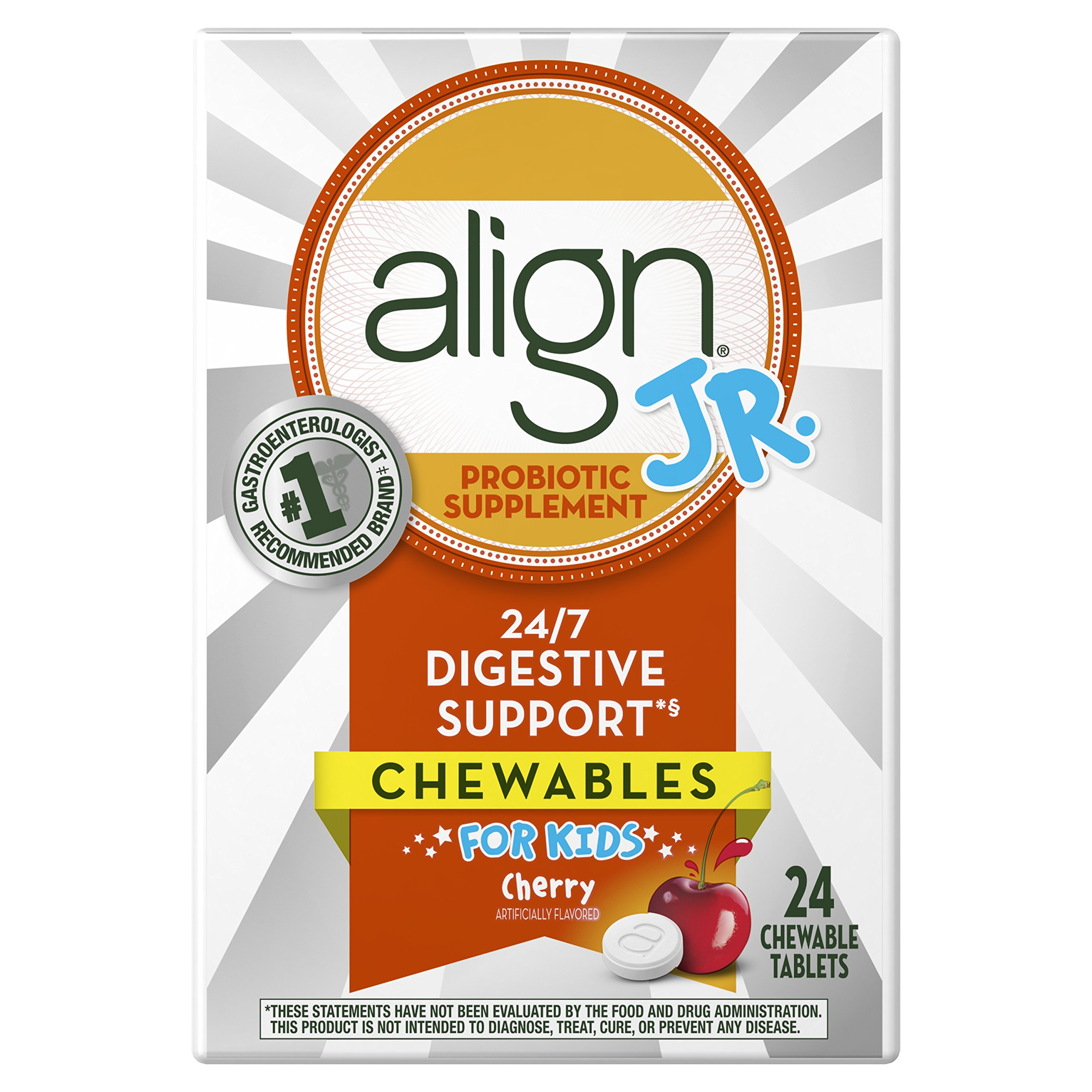 Align Jr. Probiotic Supplement for Kids 24ct Cherry Chewables (Packaging May Vary)