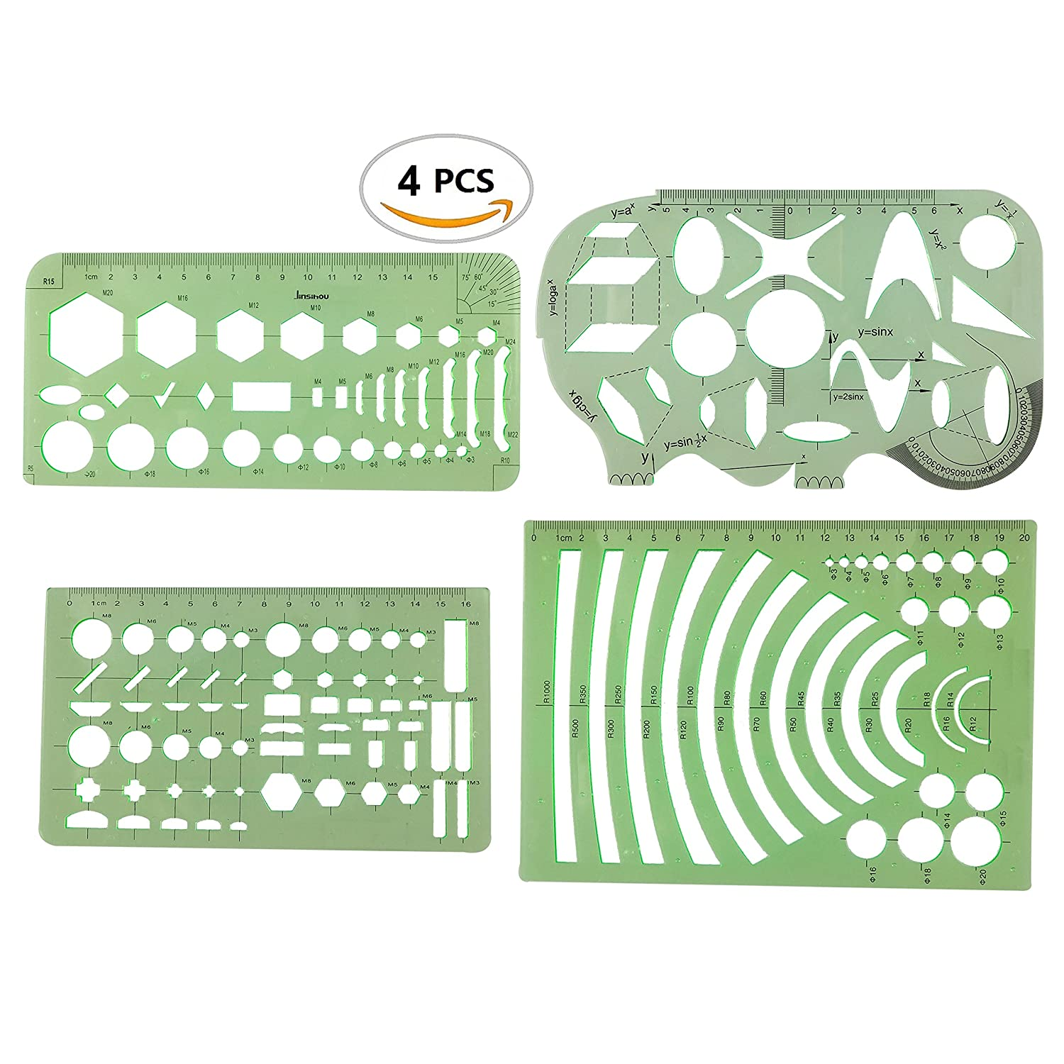 4PCS Plastic Clear Green Color Measuring Templates Geometric Rulers for Office and School, Building formwork, Drawings Templates by CSPRING