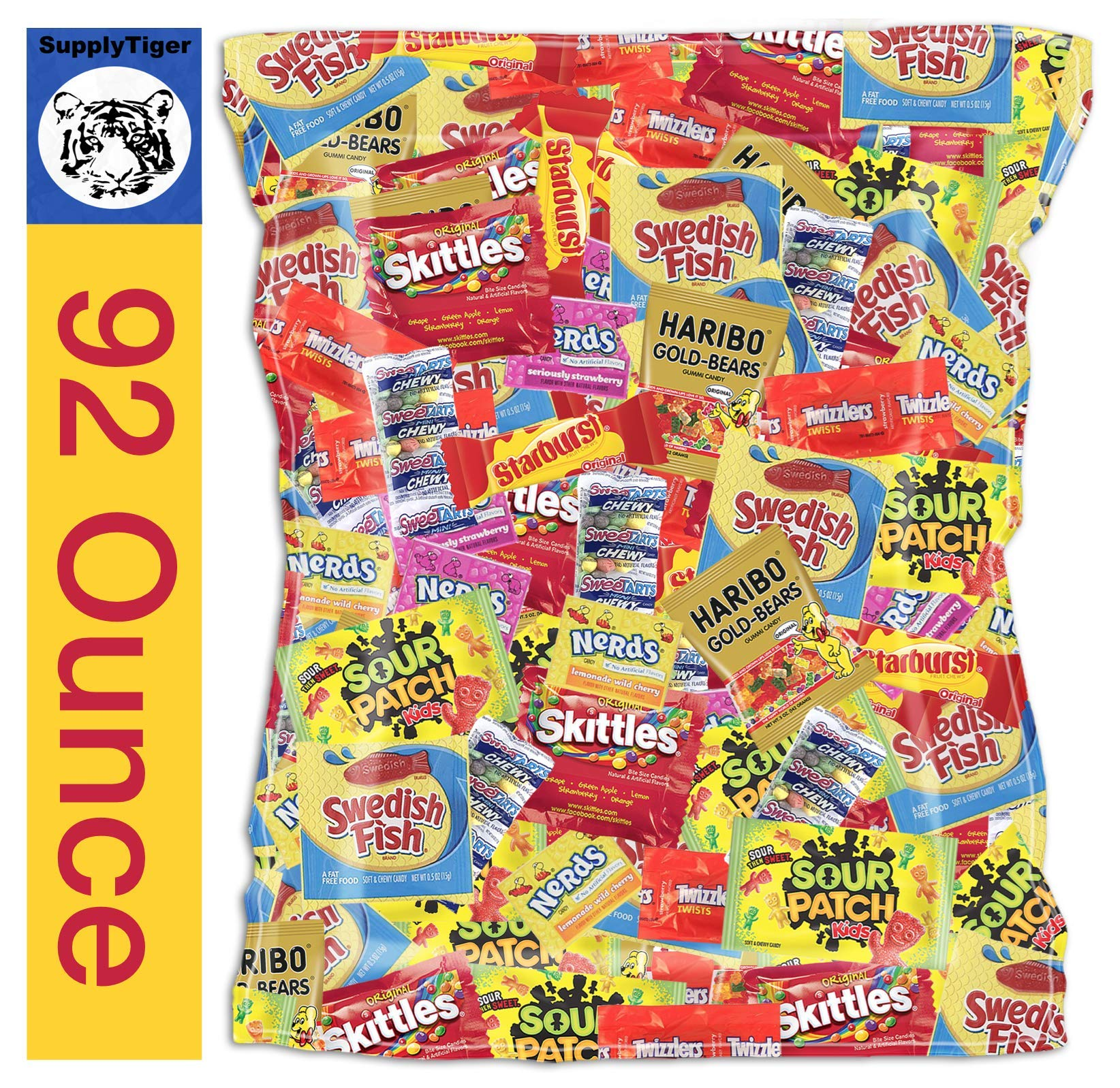 Kids Assorted Candy 92oz Pack Sour Patch Skittles Twizzlers Starburst Swedish Fish Haribo Gummy Bears Party Bags, Gifts, and Office Snacks