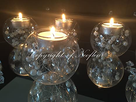 dcd85cf53b Wedding Table Tealight candle holders. A set of 6 Unique Pearl Bead Glass  Bauble Wedding