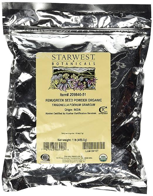 Fenugreek Seed Powder Organic Starwest Botanicals 1 lb