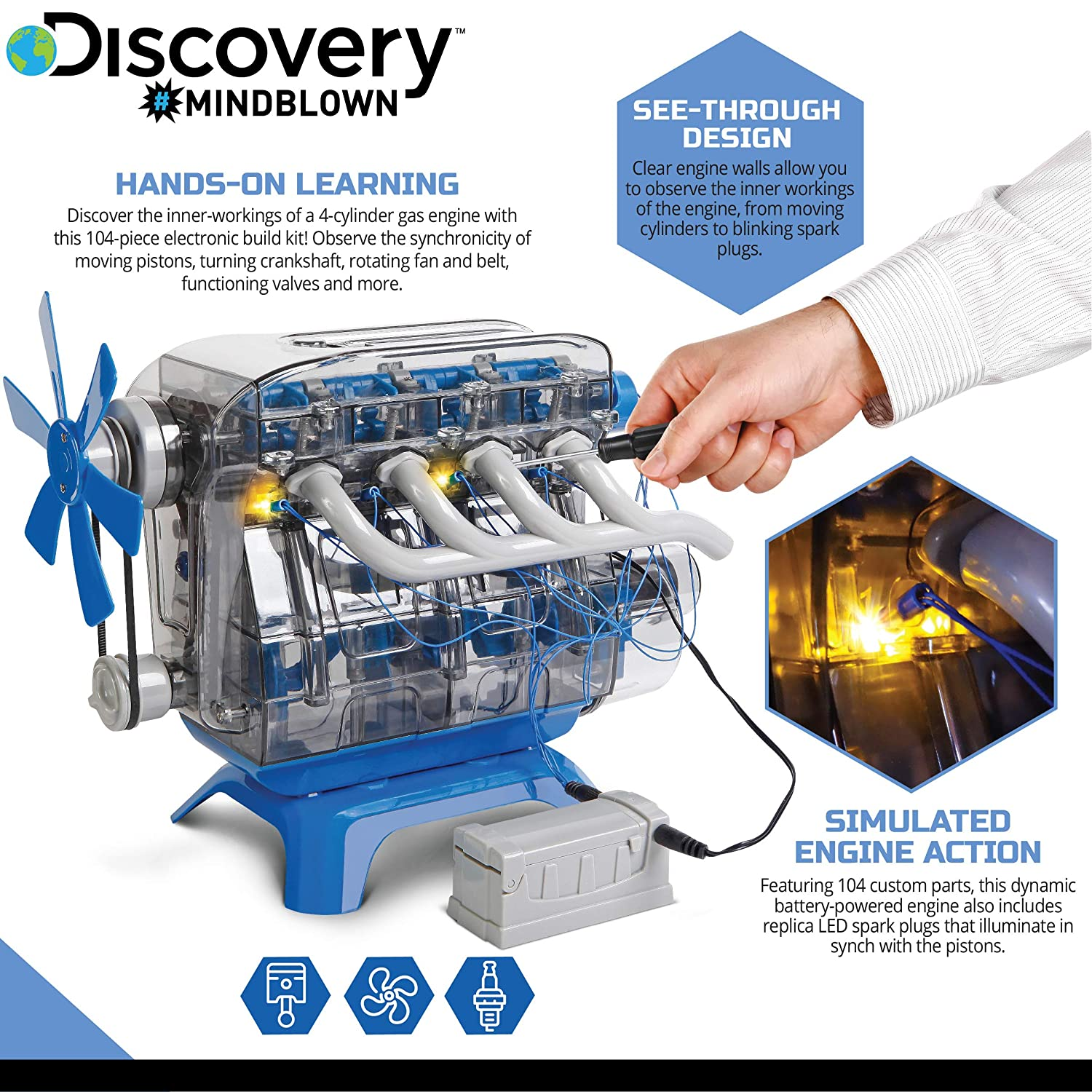 DISCOVERY KIDS DIY Toy Model Engine Kit, Mechanic Four Cycle Internal  Combustion Assembly Construction, Comes W/Valves, Cylinders, Hardware &  Much
