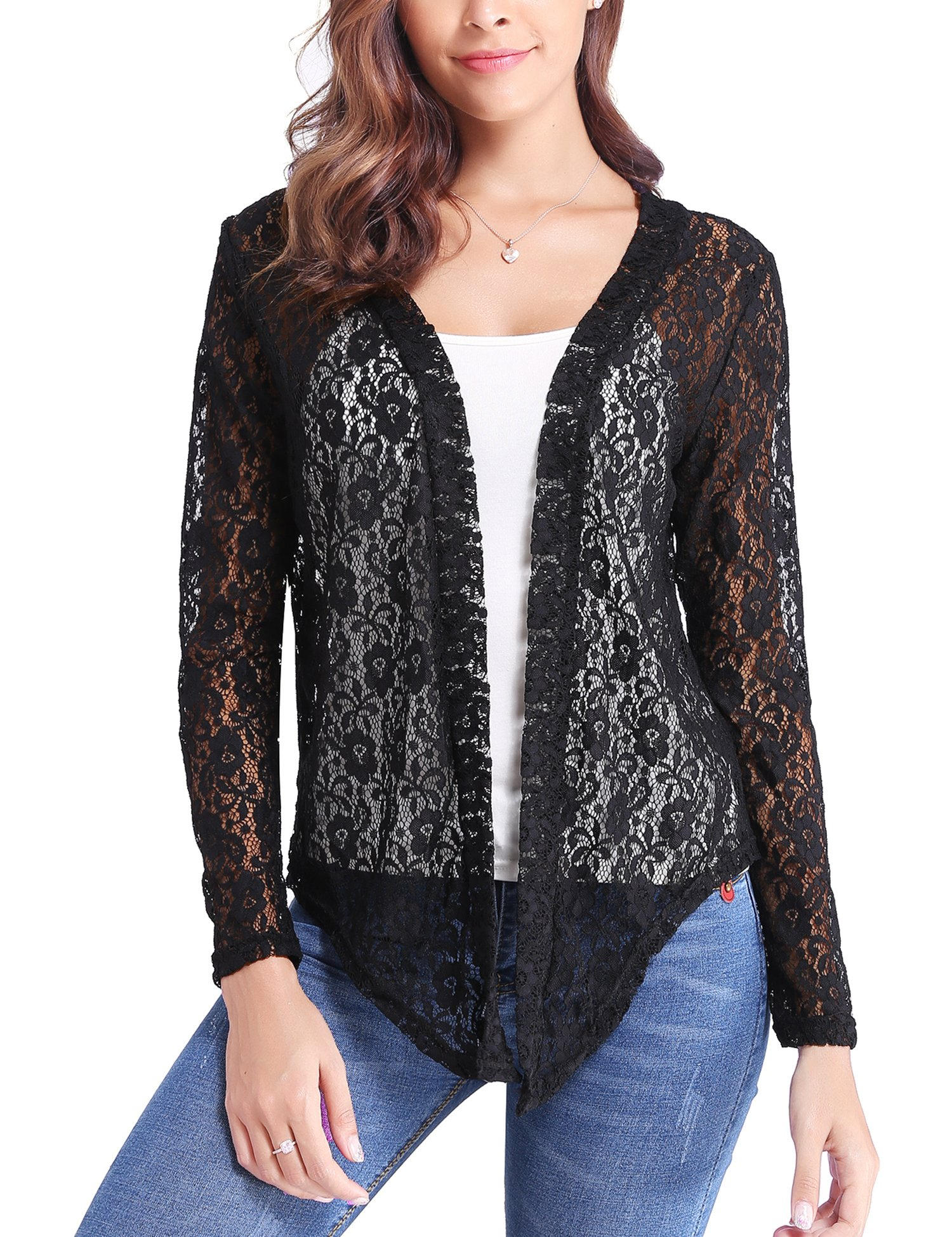 06f274093d15 Abollria Women Long Sleeve Floral Lace Shrug Open Front Bolero Cardigan