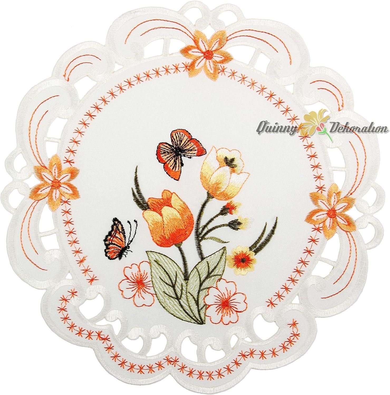 Blanc Quinnyshop Tulipes et Papillons Oranges Broderie Chemin de Table 22 x 37 cm Ovale Polyester