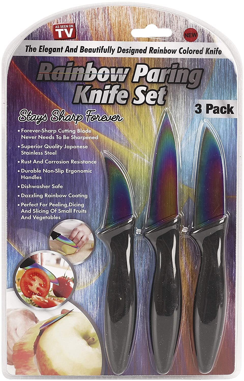As Seen On TV Rainbow Knife 3-Piece Paring Set-