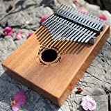 ADM Thumb Piano 17 keys Kalimba African Mahogany Mbira Portable Easy-to-learn with Music Book Tune Hammer and Bag