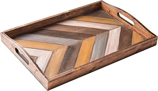Amazon Com Mygift Rustic Chevron Rectangular Wood Breakfast Serving Tray With Cutout Handles 16 X 12 Inch Home Kitchen
