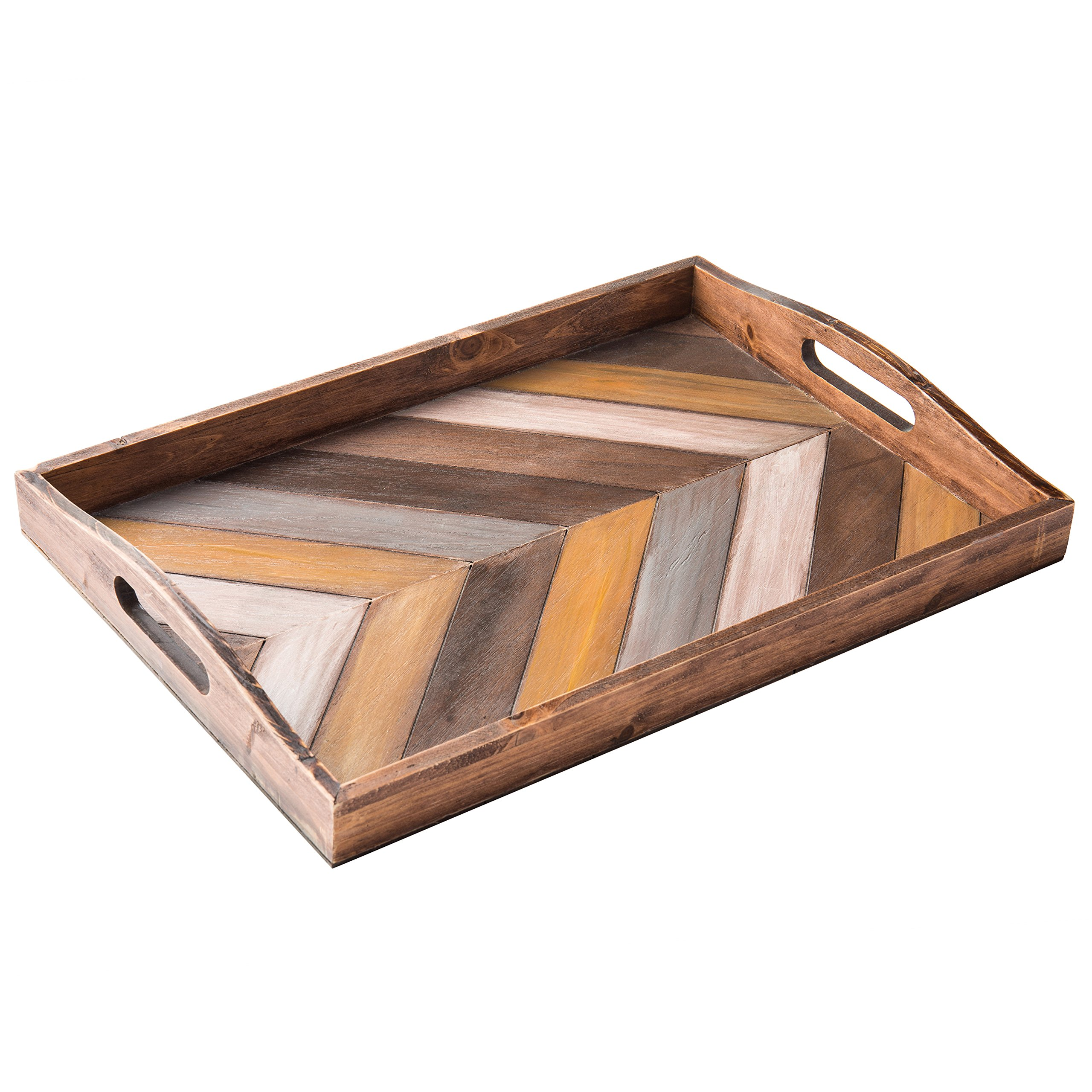 MyGift Rustic Chevron Rectangular Wood Breakfast Serving Tray with Cutout Handles - 16 x 12-Inch