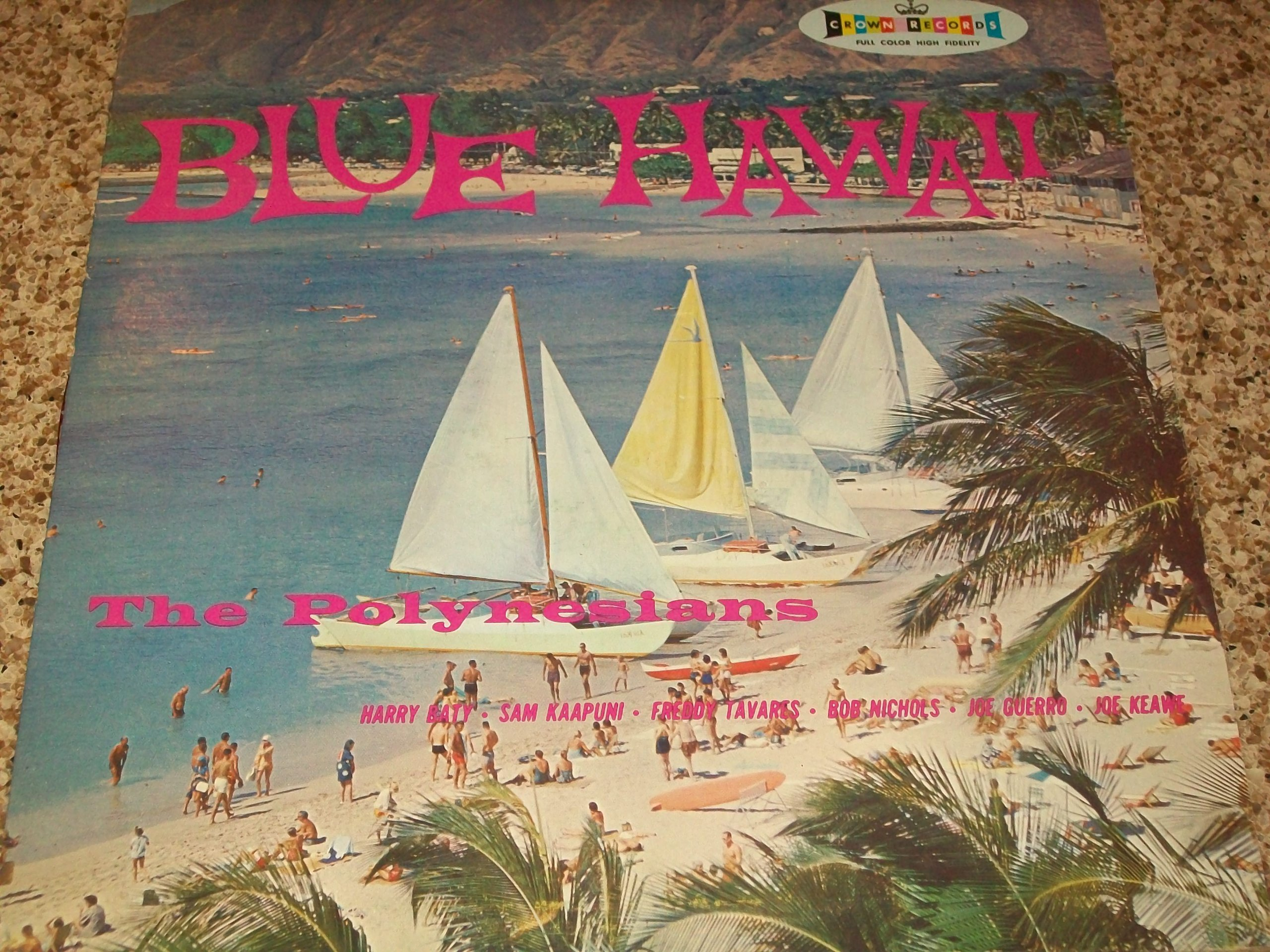 THE POLYNESIANS LP BLUE HAWAII COLORED VINYL by CROWN RECORDS
