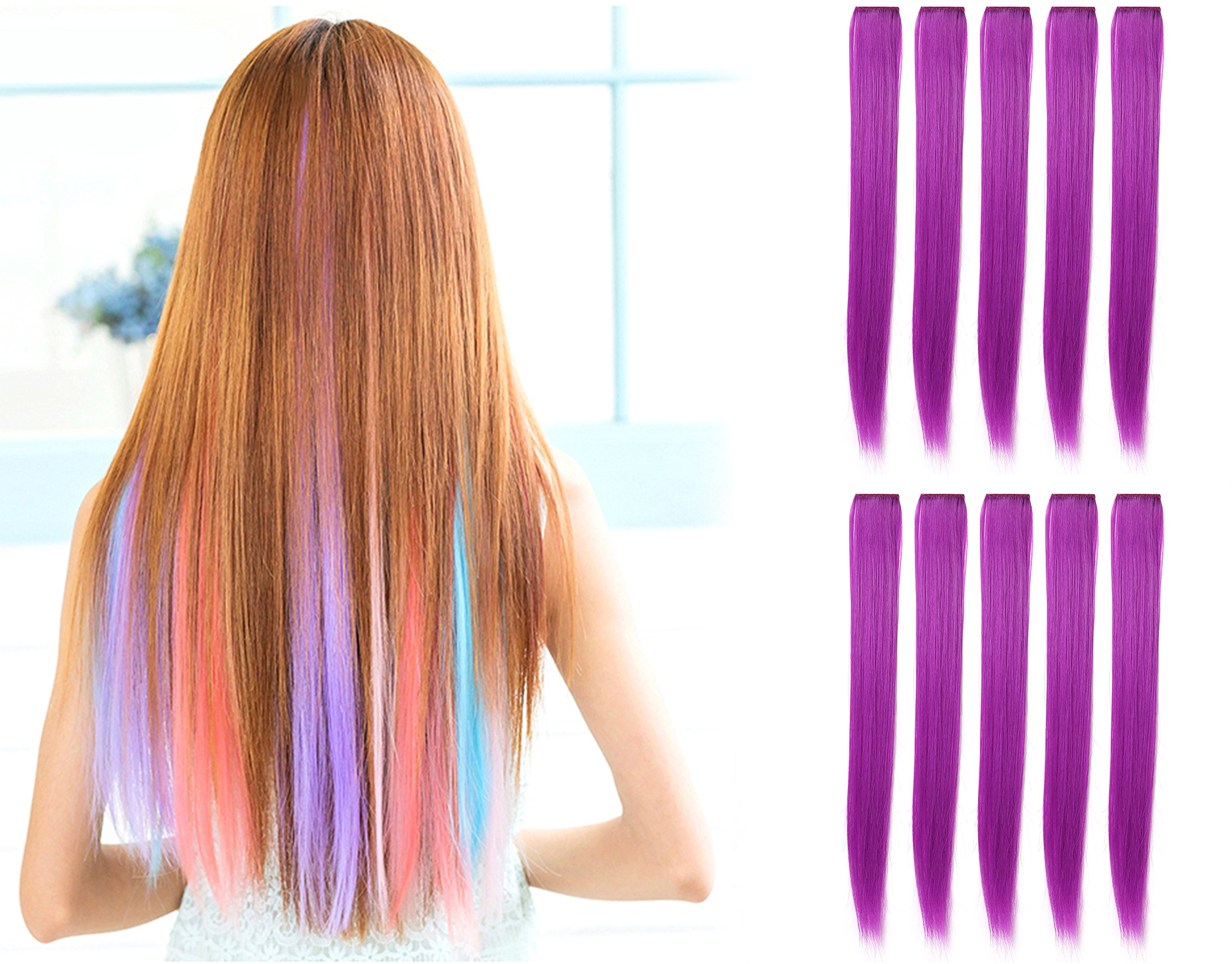 Amazon Onedor 23 Inch Colored Party Highlights Straight Hair