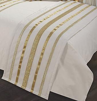 couvre lit or Chemin de lit Glamour écru avec bordure or/Ruban décoratif, Chemin  couvre lit or