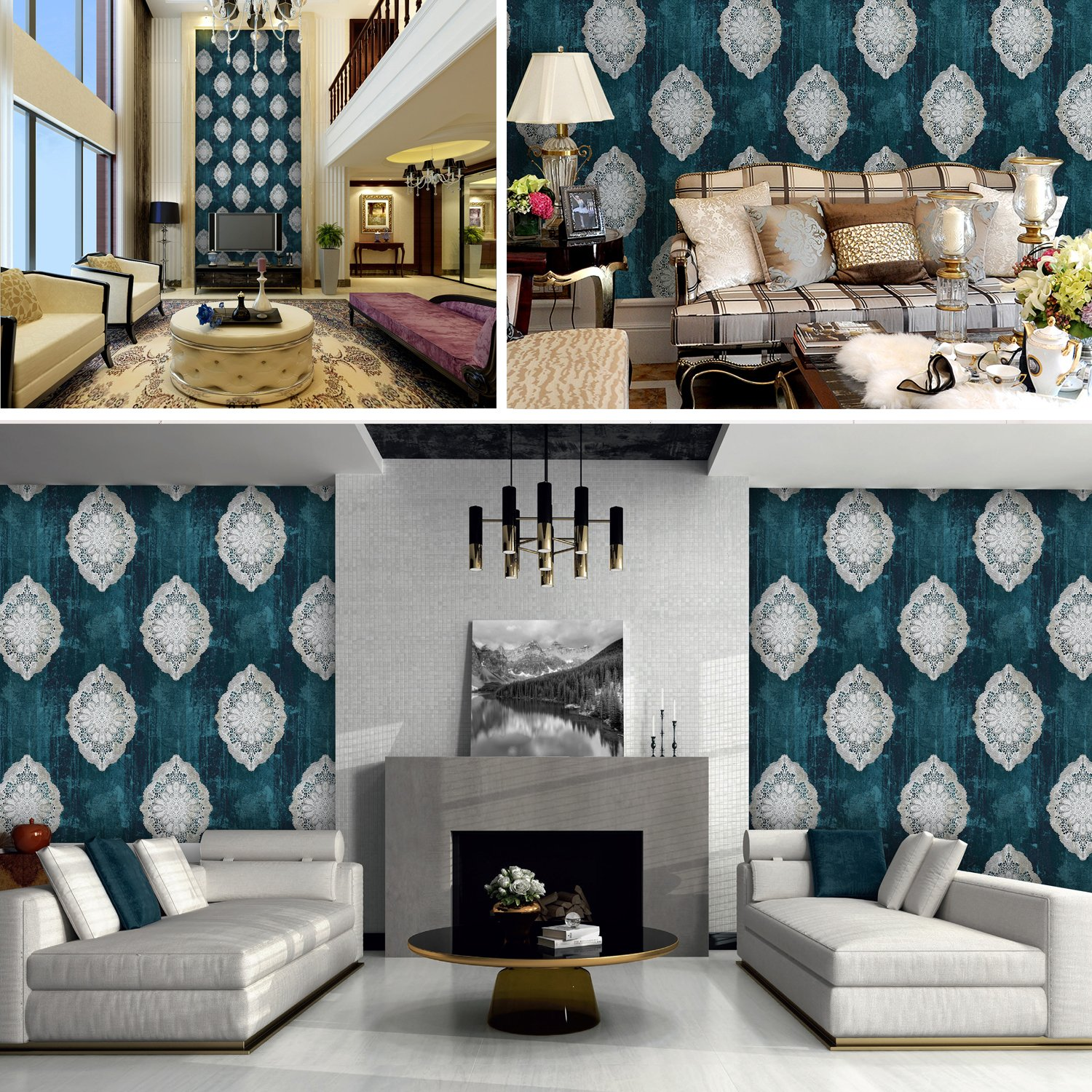 JZ127 Luxury Blue Damask Wallpaper Rolls, Metal Lace Texture Embossed Vinyl Wallpaper Bedroom Living Room Hotel Wall Decoration 20.8'' x 393.7'' by JZHOME (Image #3)