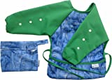 Baby Bib Waterproof Adjustable Long Sleeve Unisex ¦ Great for Toddlers and Infants ¦ Girls and Boys Feeding Weaning and Messy Play Apron with Free Travel Bag & Recipe EBOOK (Small 6-12 Months, Green)