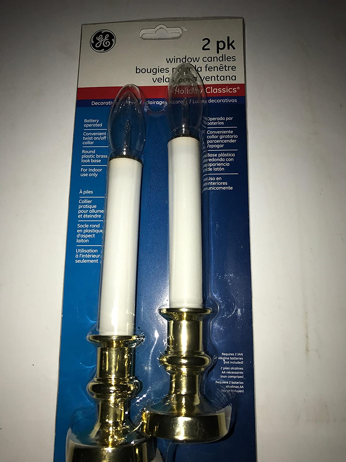 2 pk GE Holiday Classics Window Candles