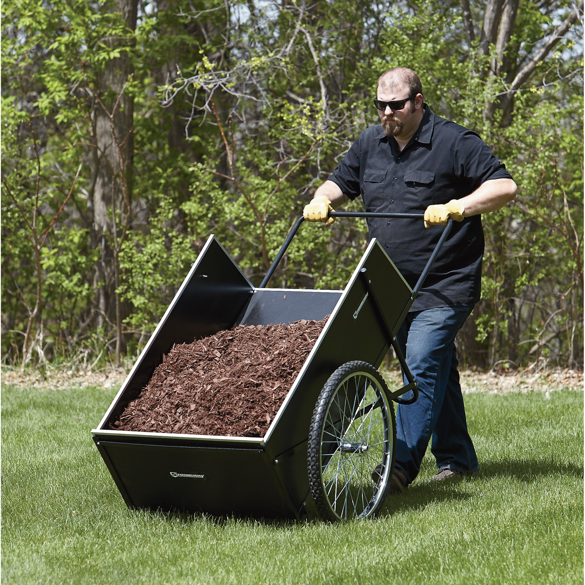 Strongway Garden Cart - 400-lb. Capacity, 14 Cu. Ft. 48in.L x 29in.W by Strongway