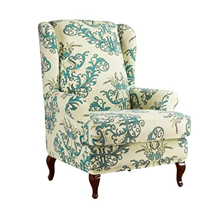 Astonishing Subrtex Spandex Universal Wing Back Armchair Covers Floral Printed Chair Slipcovers Furniture Protector Green Creativecarmelina Interior Chair Design Creativecarmelinacom