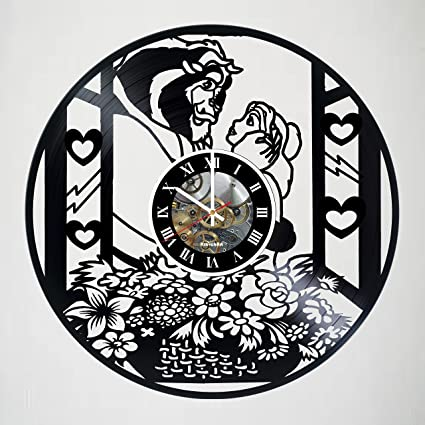 Captivating Beauty And The Beast Incredible Vinyl Record Vintage Wall Clock   Beautiful  Unique Living Kitchen Kids