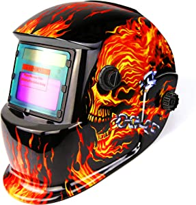 DEKOPRO Welding Helmet Solar Powered Auto Darkening Hood with Adjustable Shade Range 4/9-13 for Mig Tig Arc Welder Mask Shield Flaming Skull Design