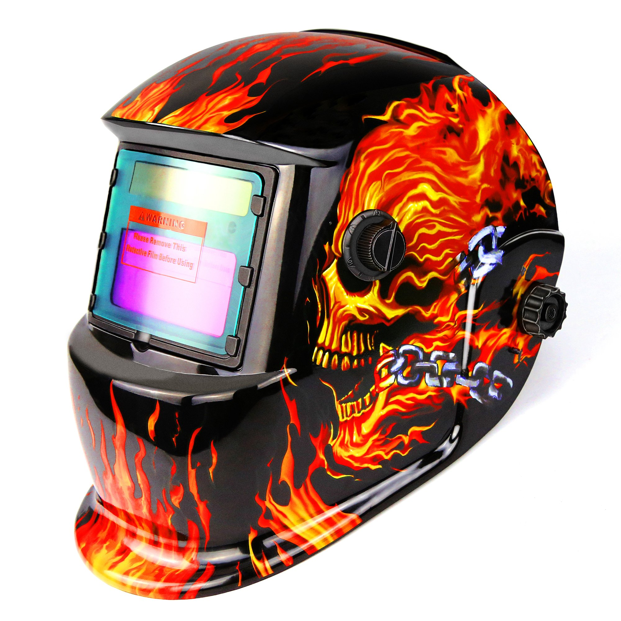 DEKOPRO Welding Helmet Solar Powered Auto Darkening Hood with Adjustable Shade Range 4/9-13 for Mig Tig Arc Welder Mask Shield Flaming Skull Design by DEKOPRO