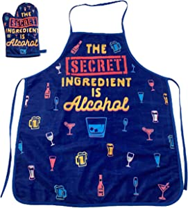 Crazy Dog T-Shirts The Secret Ingredient is Alcohol Funny Drinking Cocktail Graphic Kitchen Accessories (Oven Mitt + Apron)