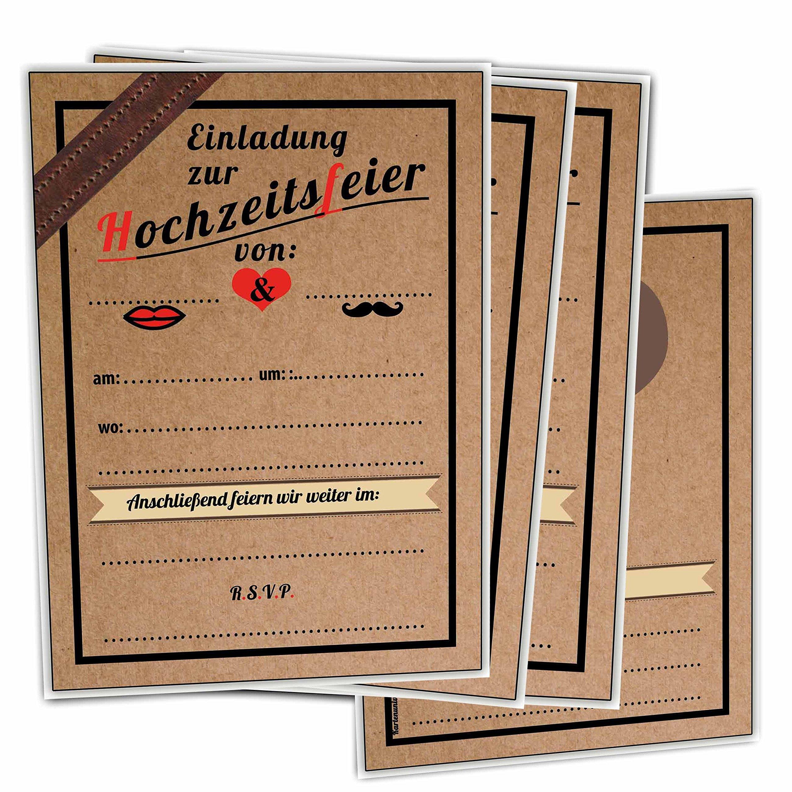 Einladungskarten Zur Hochzeit Im Vintage Ticket Look Hochzeitskarten Blanko  30 Stück