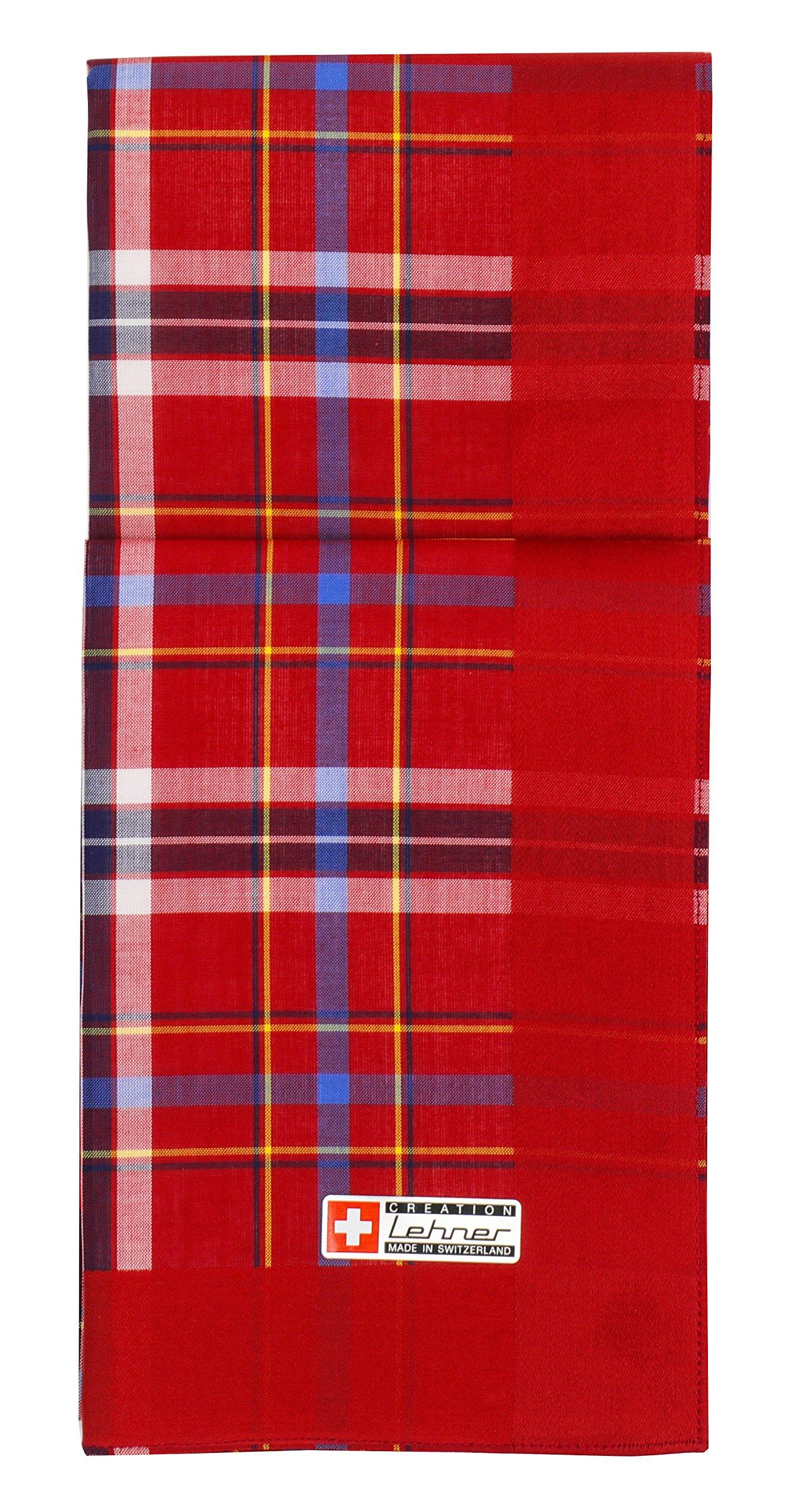 Lehner Switzerland Men's Red Plaid Tartan-Style Cotton Handkerchiefs (Set of 2)