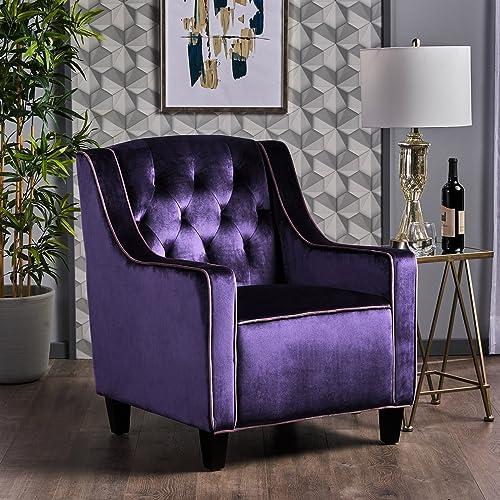 Christopher Knight Home Giada-CKH Arm Chair, Plum Lilac Dark Brown