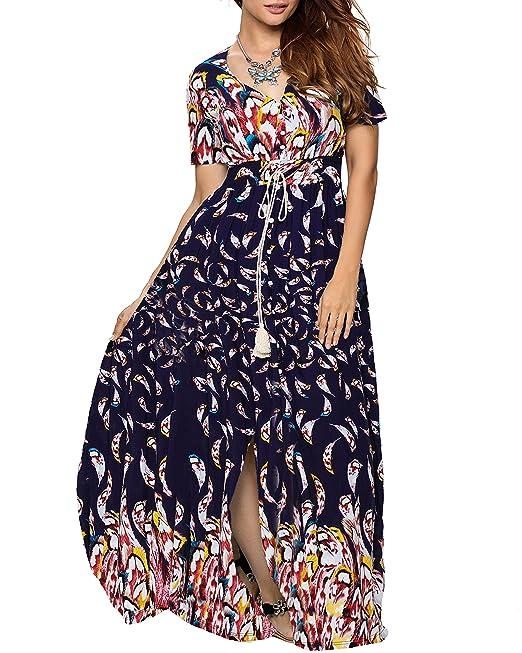 ccfe61aa05 Aofur Vestito da donna Elegante Donna manica corta estiva con scollo a V  Spiaggia casual da vacanza Maxi abiti lunghi Fodera di cotone al rayon
