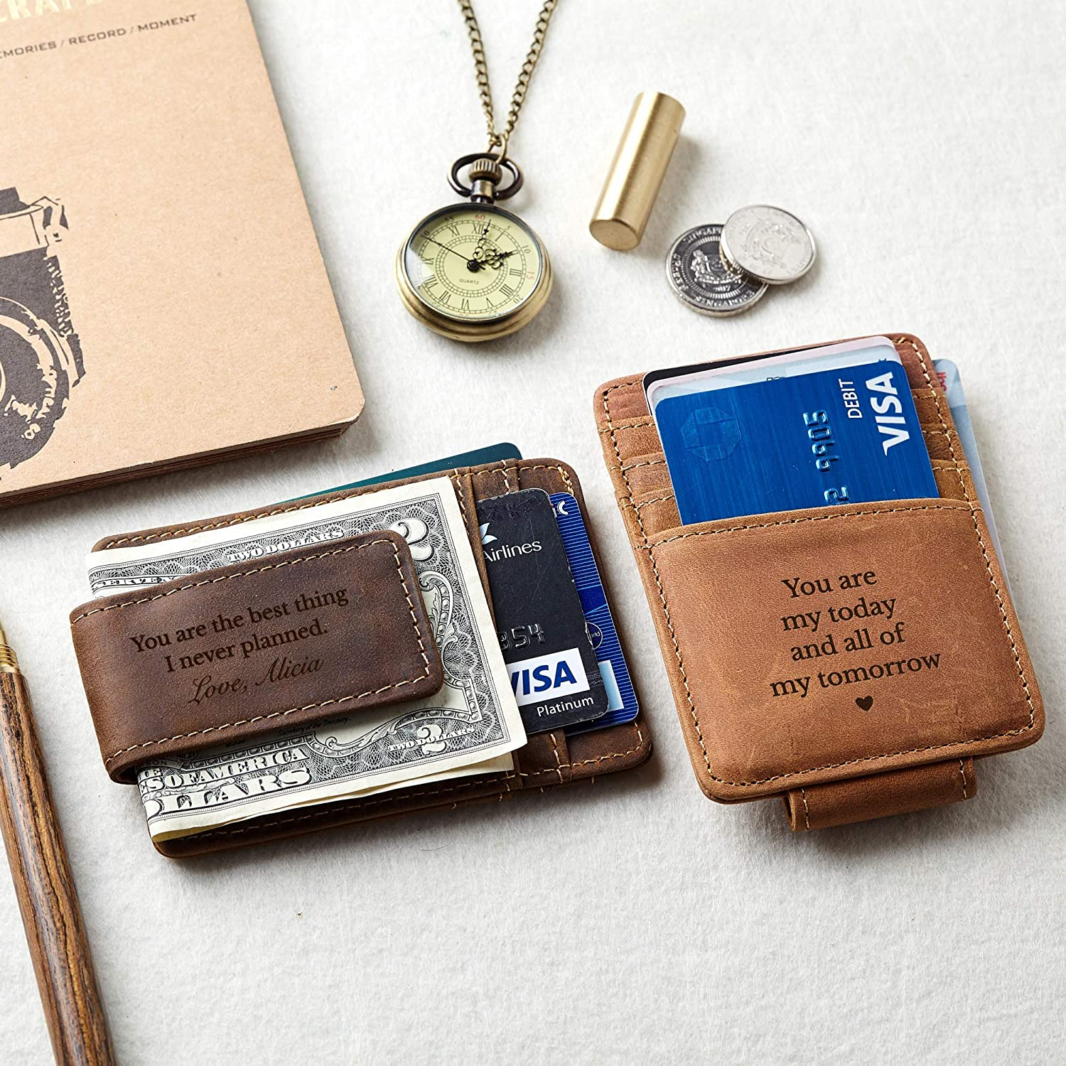 Engraved Money Clip With Magnet Personalized Wallets For Men Slim Wallet With Message Magnetic Money Clip Personalize Money Clip Wallet Credit Card Holder With Money Clip