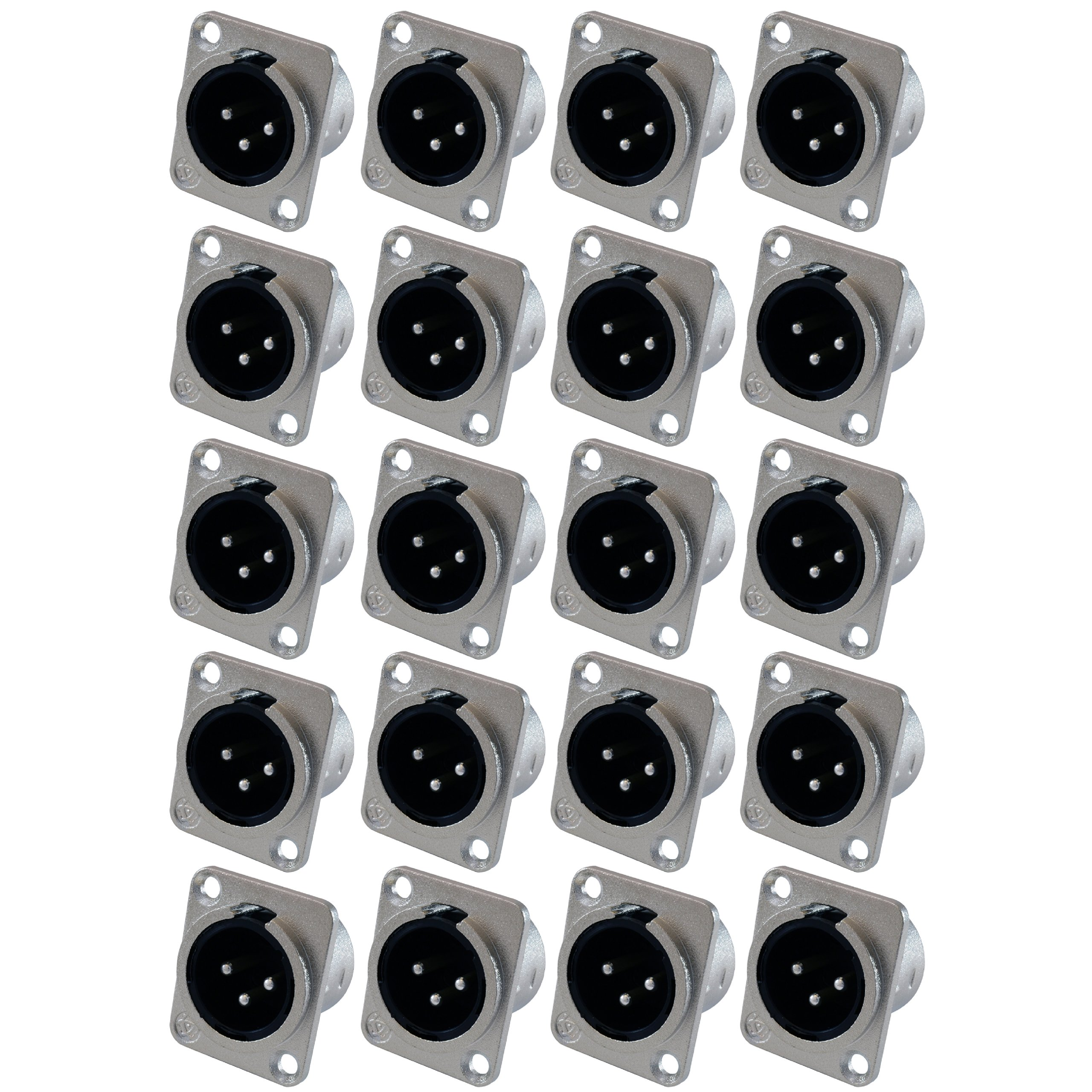GLS Audio XLR Male Jack 3 Pin - Panel Mount Jacks D Series Size XLR-M - 20 Pack by GLS Audio