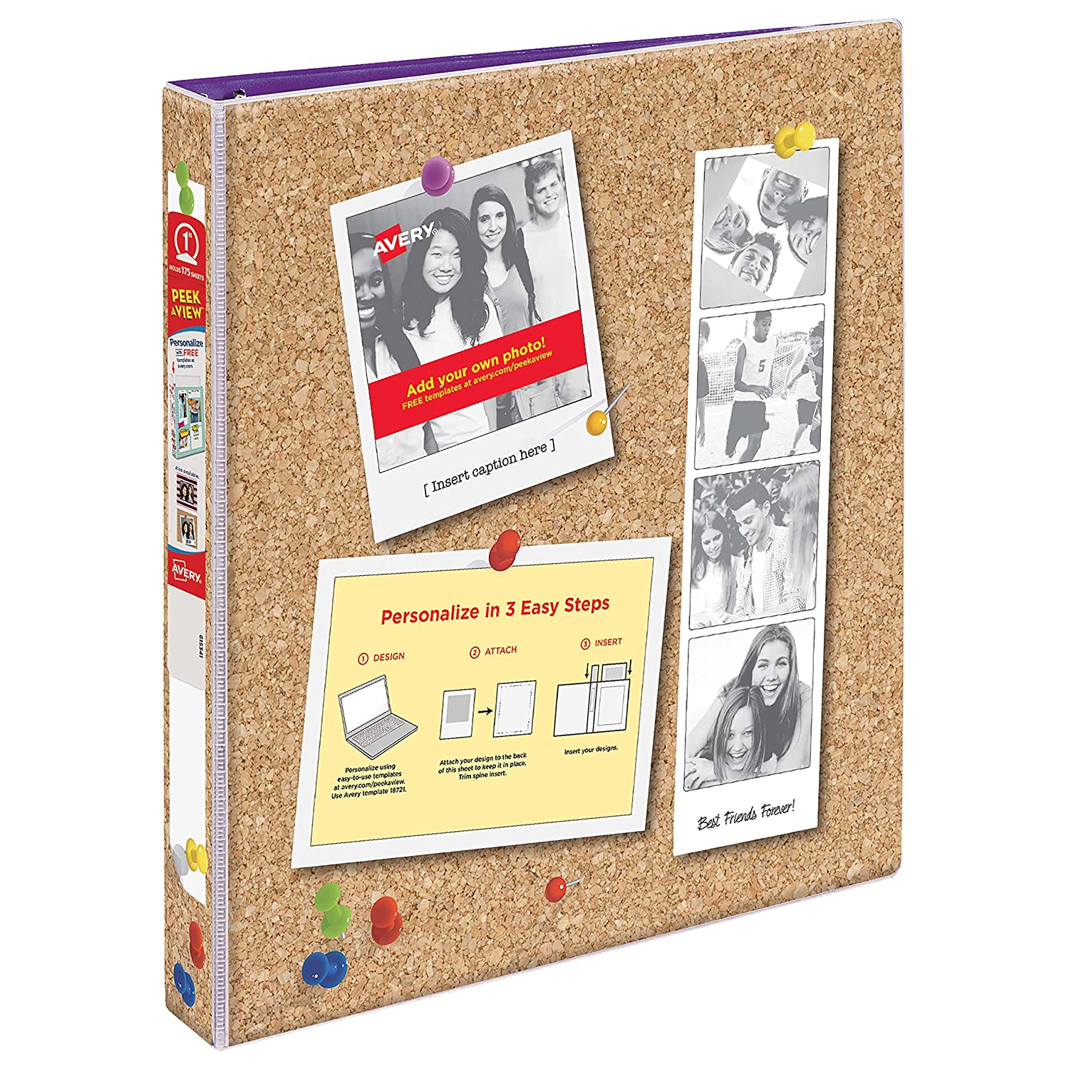 Avery Peek A View Durable Customizable Corkboard Binder, 1 Round Rings, Bulletin Board Design (18726) 1 Round Rings Avery Products Corporation