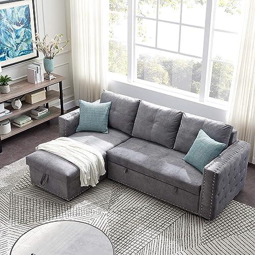 P PURLOVE 91″ Sectional Sofa Sleeper Scetional Sofa Sofa Bed