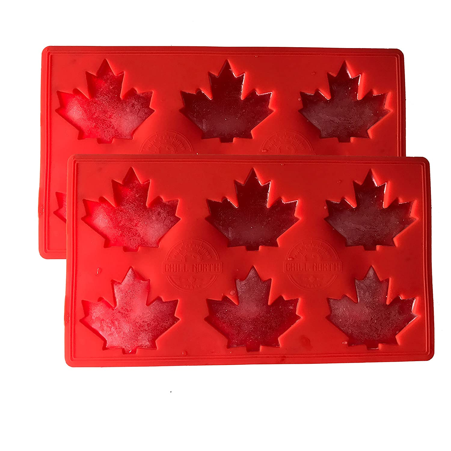 Canadiana Everyday by Chill North Set of Two Large Unique Silicone Mould One of a Kind Gift idea! Maple Leaf Ice Cube Tray